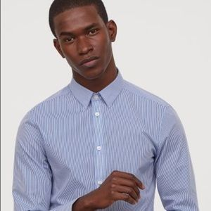 H&M Men's Long Sleeve White/Blue striped Shirt